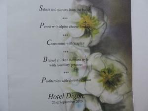 Hotel Digon evening menu