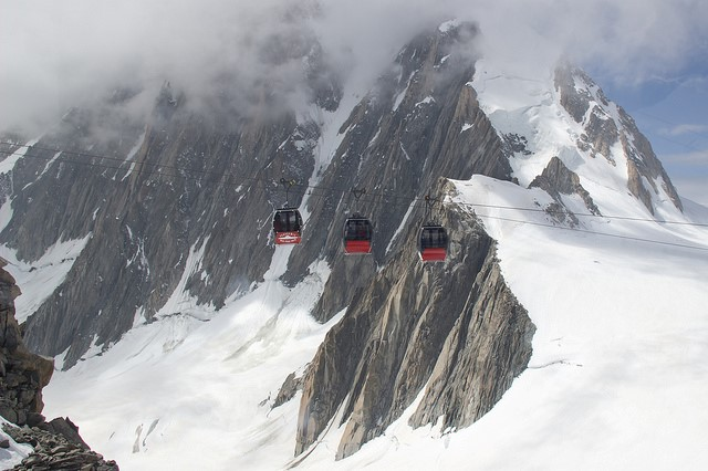 image: helbronner cable car goes between france and italy