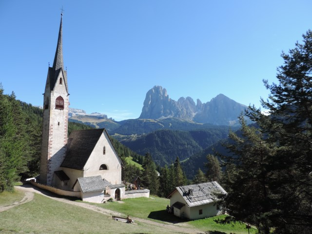Image: The Church of St Jacob has spectacular views over Val Gardena Dolomites