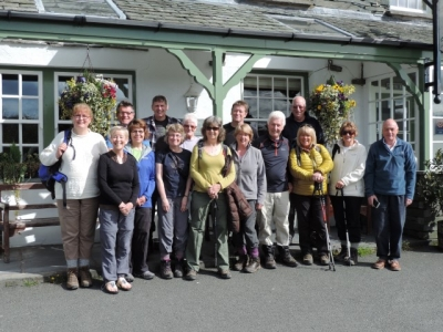image: Sedgemoor Ramblers outside the Three Shires Inn Little Langdale