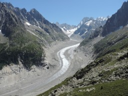 Mer de Glace seen on a French Alps walking holiday is one of the best hikes in the alps