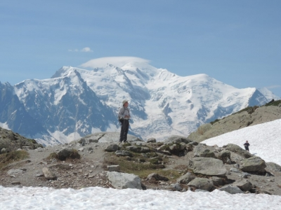 image: mont blanc seen from lac blanc
