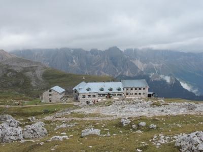 image: Rifugio Bolzano is always popular on a Dolomites walking holiday.