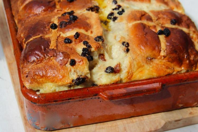 Hot Cross Bread Bun Pudding Recipe