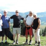 Mike among customers at Alpe di Siusi on a Dolomite walk