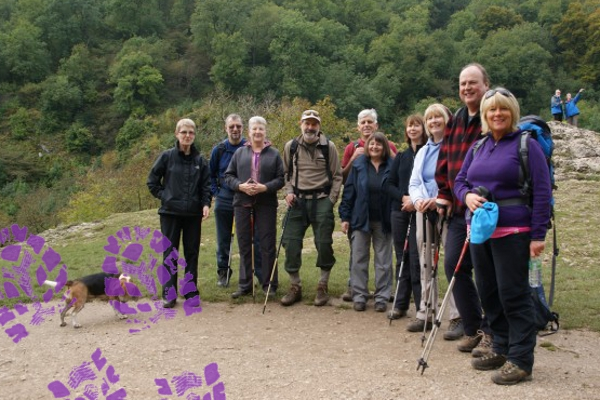 Paula with group on a Peak District break