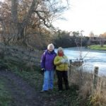 Paula with Val on the River Tweed, favourite things are favourite times and people