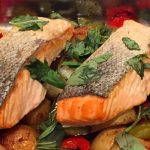 Salmon Tray Bake. An easy dish for Chalet Menus in the French Alps