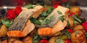 Salmon Tray Bake. An easy dish to put together in the French Alps