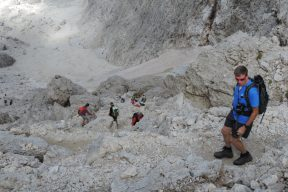Coming down off Sassolungo with rucksacks