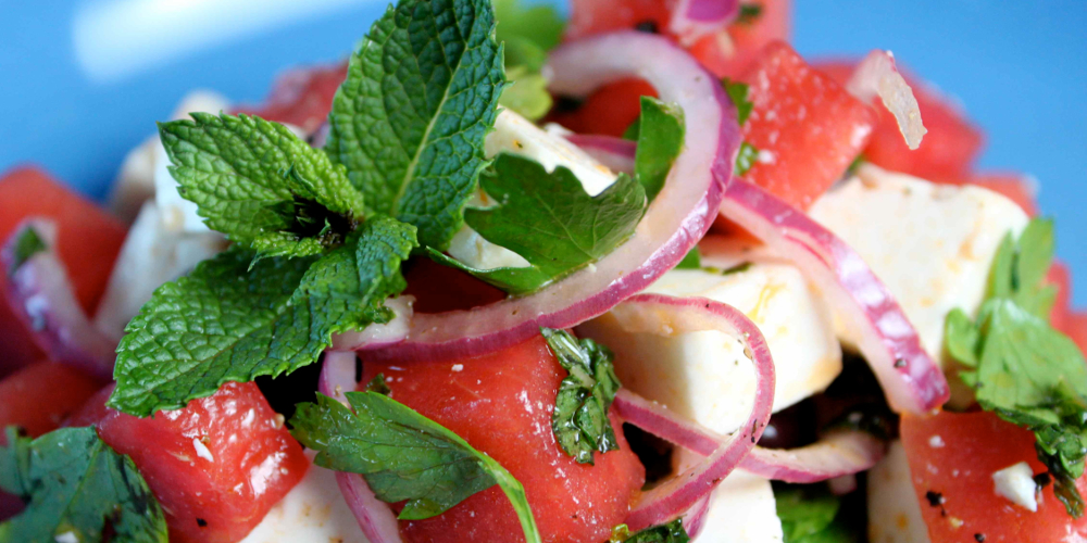 Feta Watermelon Salad a great starter for the French Alps